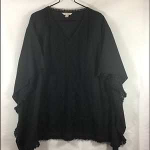 Pure Batwing Sleeves With Lace Inset. Cover Up/Top